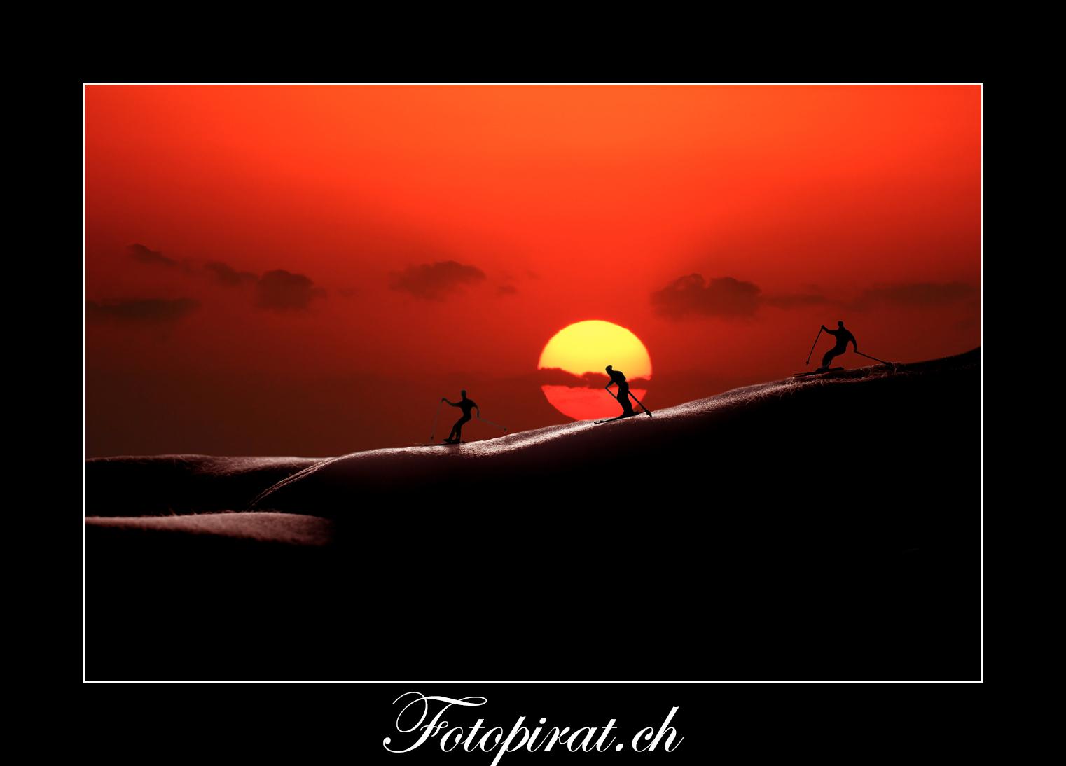 Bodyscapes, Bodypart, Skifahrer, Sunset
